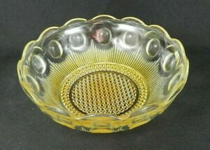 "Vtg Pressed Glass Serving Bowl 8"" W Yellow Coin Dot Pattern Bubble Dot Base"