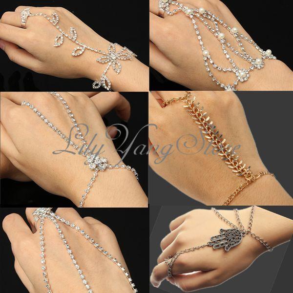 Vintage Glitter Rhinestone Hand Harness Bracelet Slave Chain Link Finger Ring