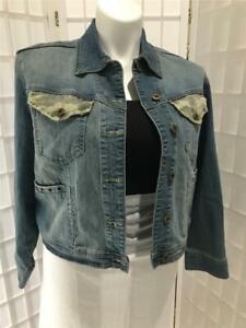 Women's New Sizzle Jeans 2X Cotton Blend Light Wash Denim Button Up Jacket