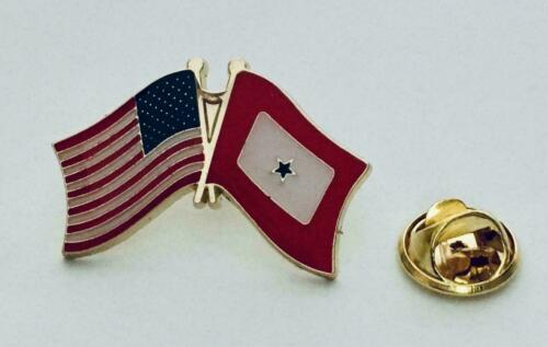 1 Service Star USA Military FRIENDSHIP CROSSED FLAGS LAPEL PIN Blue