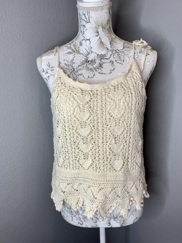 Vintage ecru cotton blend crochet sleeveless crop top with floral patterns  s  1970s