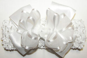 Baptism-Headband-White-Bow-Organza-Satin-Baby-Infant-Christening-Crochet-Band