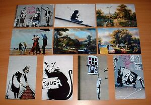 SET-OF-TEN-BANKSY-ARTWORK-POSTCARD-SIZE-PHOTO-ART-PRINTS