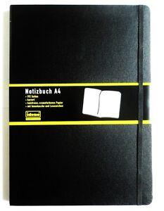 Idena-Notizbuch-DIN-A4-schwarz-kariert-Tagebuch-Notizbuch-Profinotizbuch