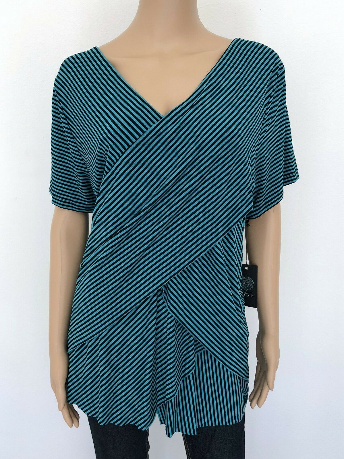 NWT  VINCE CAMUTO Plus Größe 3X Blau schwarz Striped T-Shirt Top Blouse Woherren