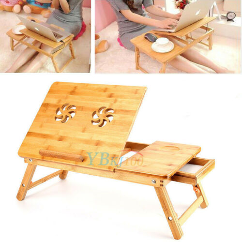 Bamboo Laptop Notebook Computer Desk Folding Flower Bed Work Tray Table US