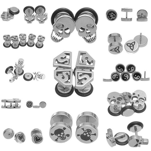 Fashion Pair 316L Stainless Steel Stud Earrings Barbell Screw Back Silver Tone