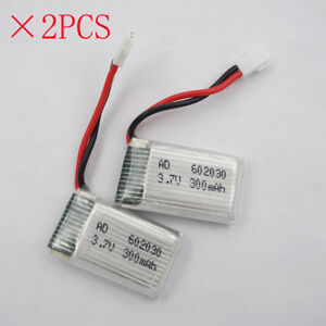 2pcs 3.7V 300 mAh 25C 602030 JST plug Polymer Li Battery for SYMA X5 RC Drones A
