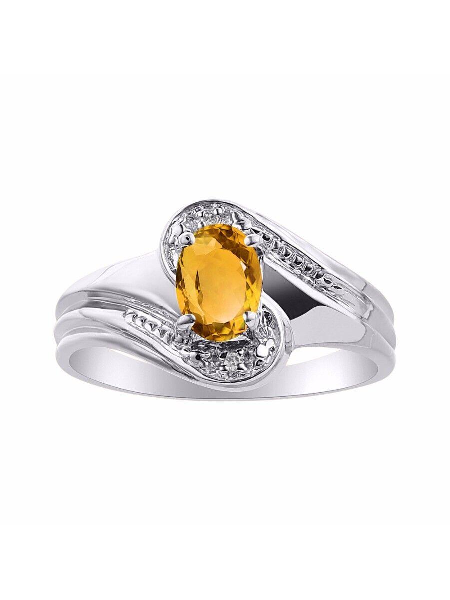 Diamond & Citrine Ring Set In 14K White gold - color Stone Birthstone Ring LR722
