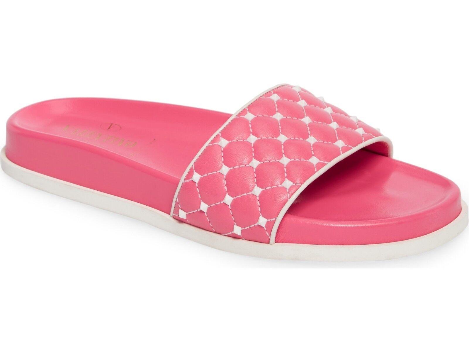 Valentino Garavani Rockstud Quilted Pool Slide Sandals Pink Mult Sz $725.00