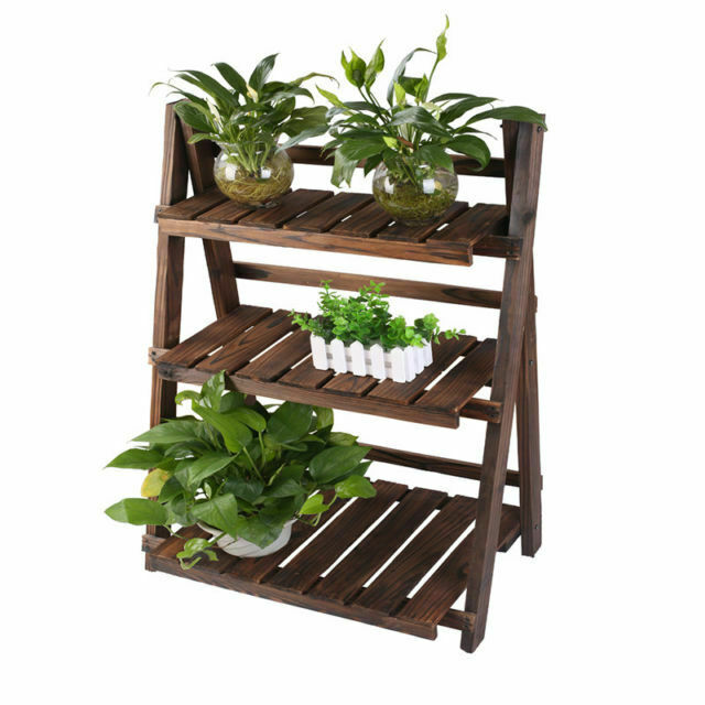 New Folding 3 Shelf Tier Indoor Outdoor Wood Plant Flower Pot Picture Book Stand