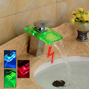 Robinet mitigeur lavabo / Evier Verre LED couleur Salle de bain | eBay