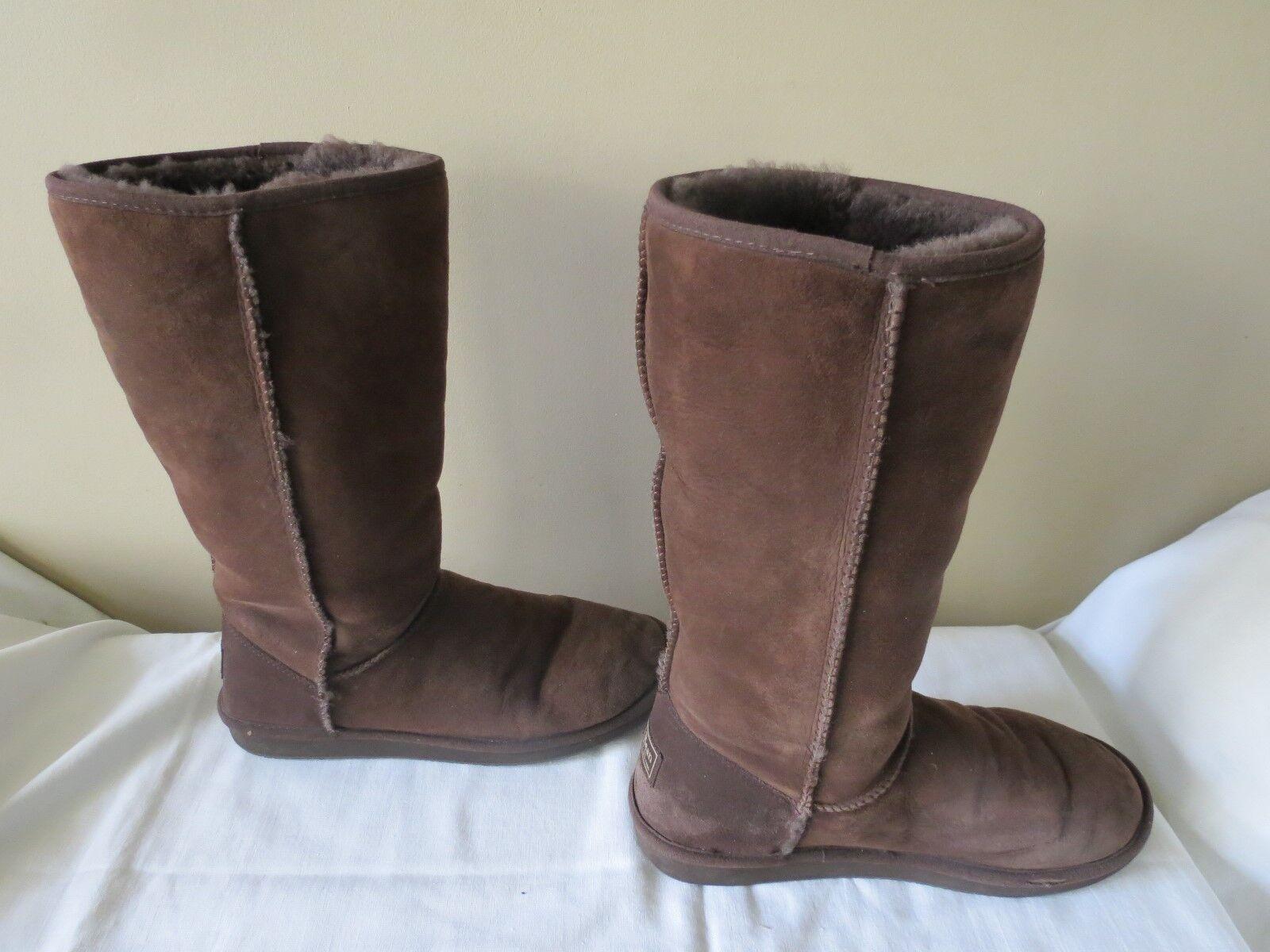 LL Bean Damenschuhe Tall Braun Chocolate Größe Sheepskin Suede Stiefel Größe Chocolate 10 EUC 2b3987
