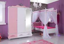 Himmelbett + Kleiderschrank SPARSET Mädchenzimmer Anastasia Kinderzimmer rosa