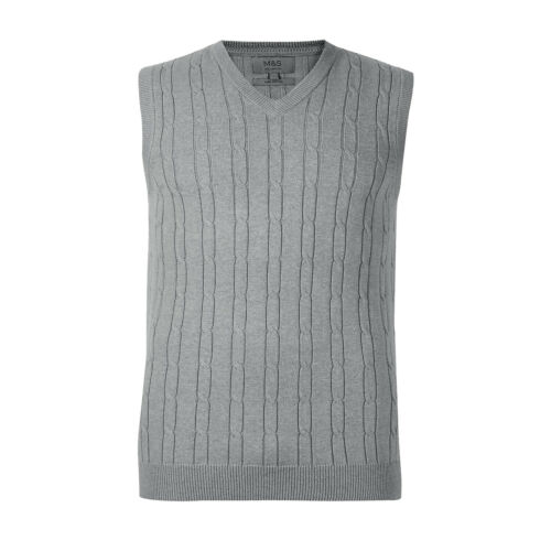 Marks /& Spencer Mens Cotton Tank Top Pullover New M/&S Sleeveless Slipover Jumper