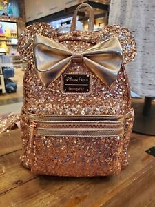 NEW Disney Parks Loungefly Rose Gold Minnie Mouse Icon Bow Sequin Mini Backpack