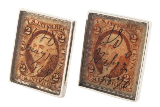 Antique 1870 year, US revenue tax stamp silver cufflinks by alan k. thau ®
