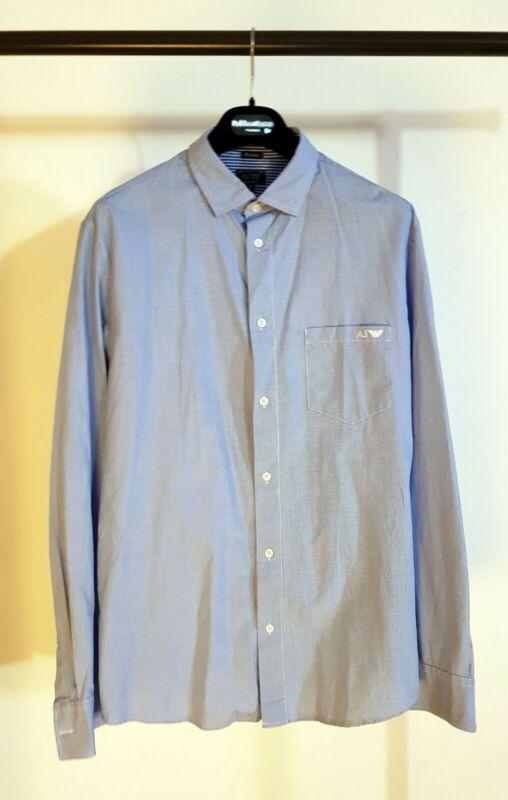 Armani Jeans Hemd, Blau / Weiß Fein Kariert. Xl