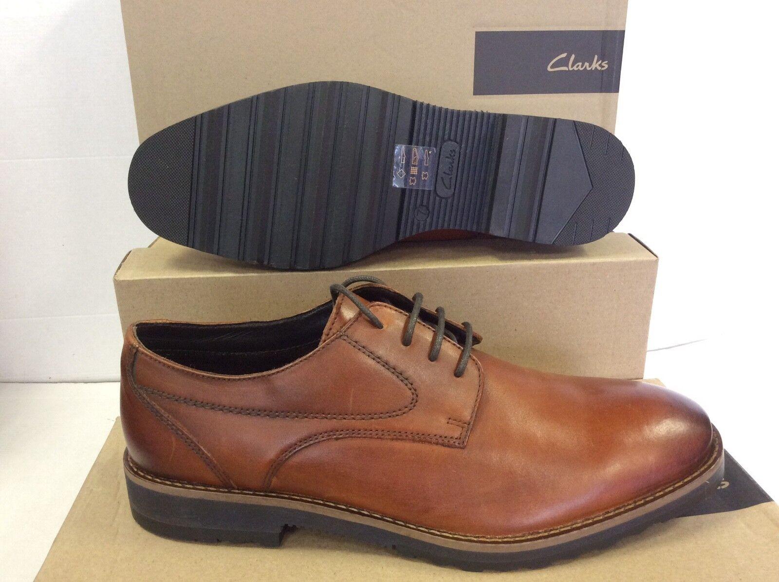 Clarks edgewick Llanura de cuero Marrón Oscuro para Hombre Zapatos, Talla  42 euros