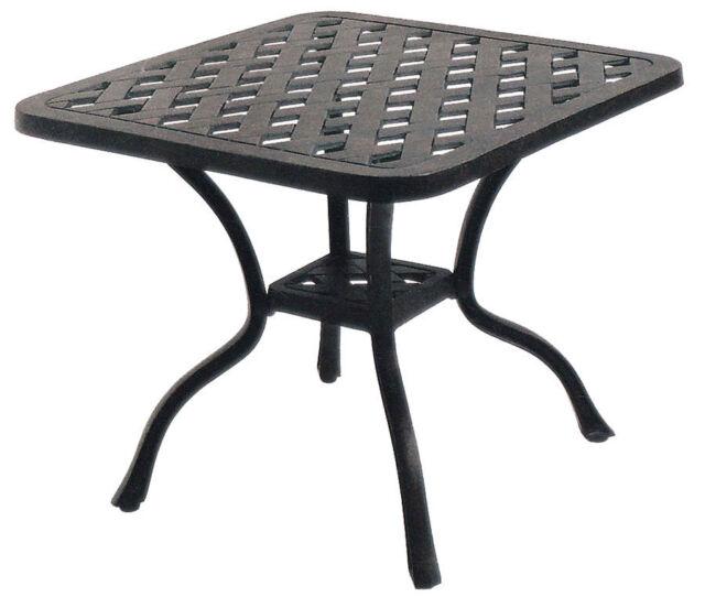 Outdoor end table Nassau square cast aluminum patio furniture side balcony