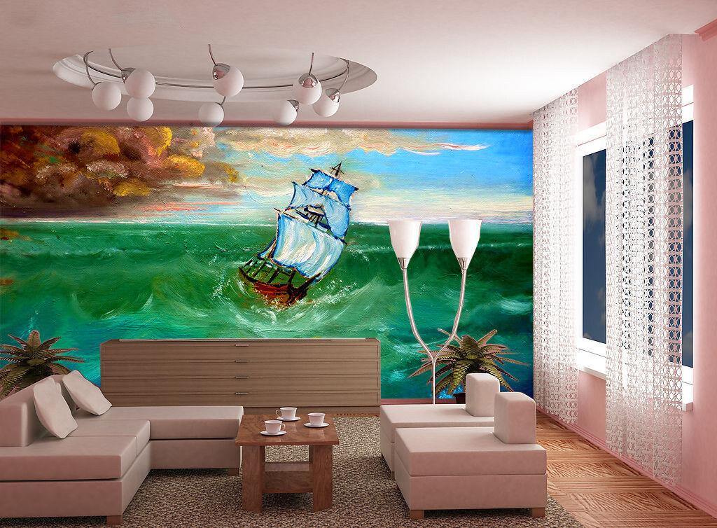 3D Meereswellen SegelStiefel 86 Tapete Wandgemälde Tapete Tapeten Bild Familie DE