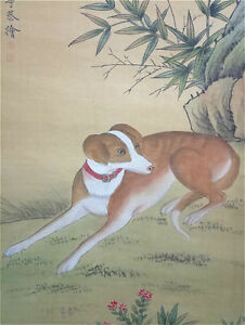 Rare-Chinese-100-Hand-Painting-amp-Scroll-034-Dog-034-On-Silk-By-Lang-Shining