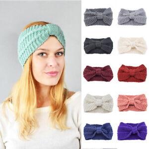 ada31517442 Image is loading Womens-Girls-Bowknot-Hair-Band-Headwrap-Winter-Warm-