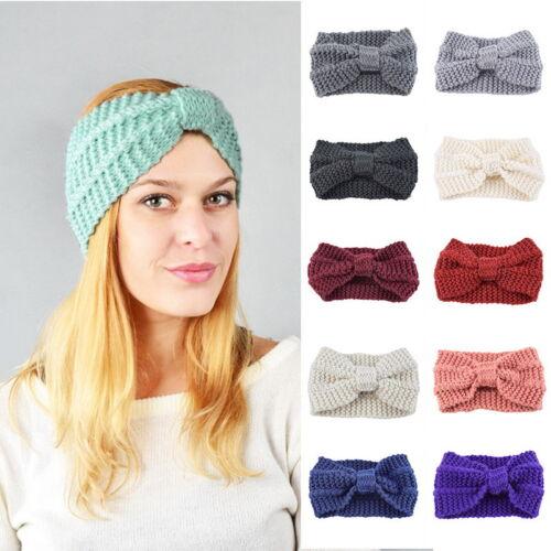 Fashion Women Bowknot Knitted Wool Hair Band Winter Headwrap Ear Warmer Headband