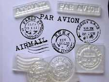 Vintage Postmarks Set Of Clear Stamps, Rome, Paris, London, Airmail, Par Avion