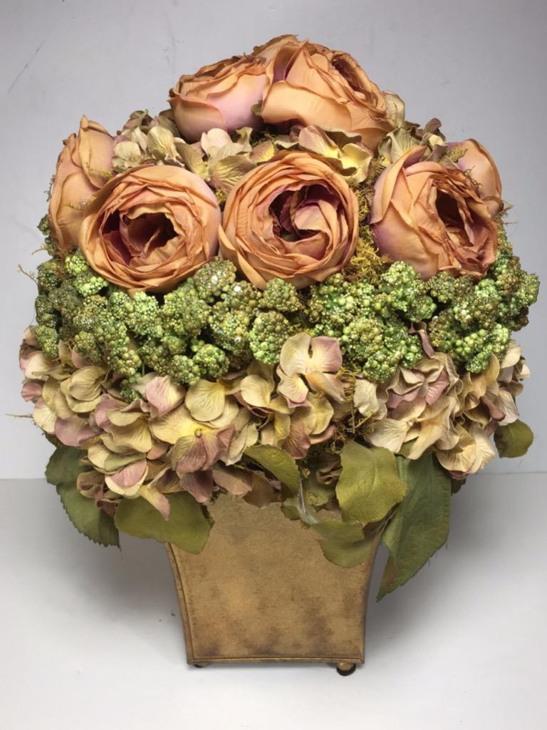 16  Vintage Style Artificial Rosas & Floral Floral Floral Bouquet Arrangement Vase (Orig  200) 1cc8a2
