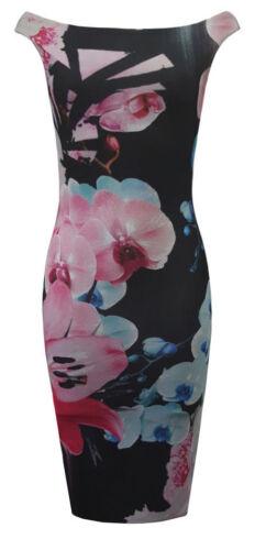 Ladies Womens Off Shoulder Celebrity Jessica Wright Bodycon Midi Dress UK 8-14
