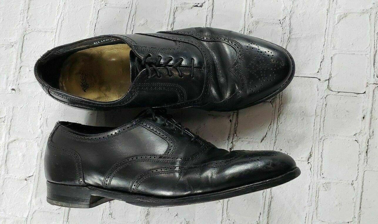 KJ Long Life Men's Black Leather Lace Up Step shoes Size 10