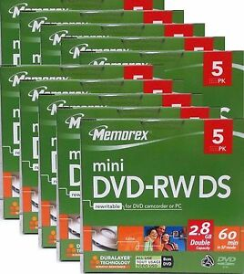 50x MEMOREX MINI DVD-RW DS 8cm DVD 2,8GB 60 Min.
