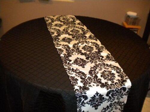 """12 Black and White 12/"""" x 108/"""" Flocking Damask Table Runner 3D Flocked Velvet"""