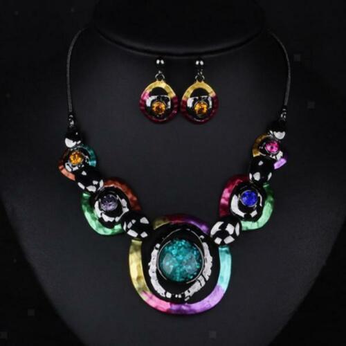 Shining Jewelry Set Bunte geometrische Halskette Kettenohrring Set Lady Gift