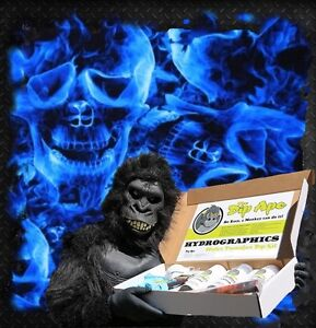 BLUE SKULLS FIRE FLAMING INFERNO MY IHYDROGRAPHIC WATER TRANSFER HYDRO DIP IKIT