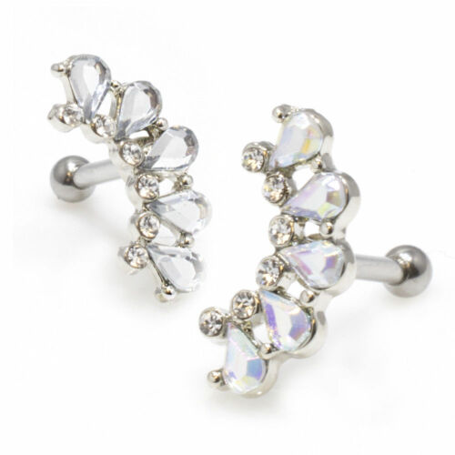 Pear Shape Gem Cluster Cartilage Ear Bar Tragus Daith Rook 16g Surgical Steel