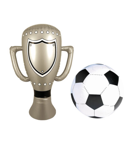 INFLATABLE SET FOOTBALL and SILVER TROPHY BLOW UP 60 CM CUP KIDS TOY PARTY PROP