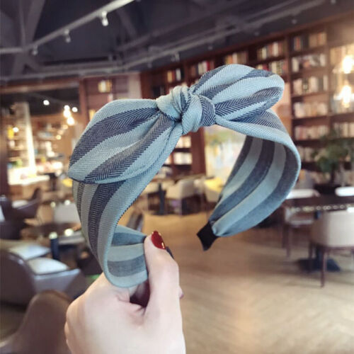 Fashion Women Bow Hairband Knot Stripe Headband Wide Hair Band Hoop Accessories