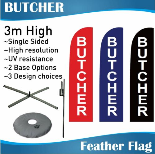 3m Outdoor BUTCHER Flag Banner Feather Flags with Base