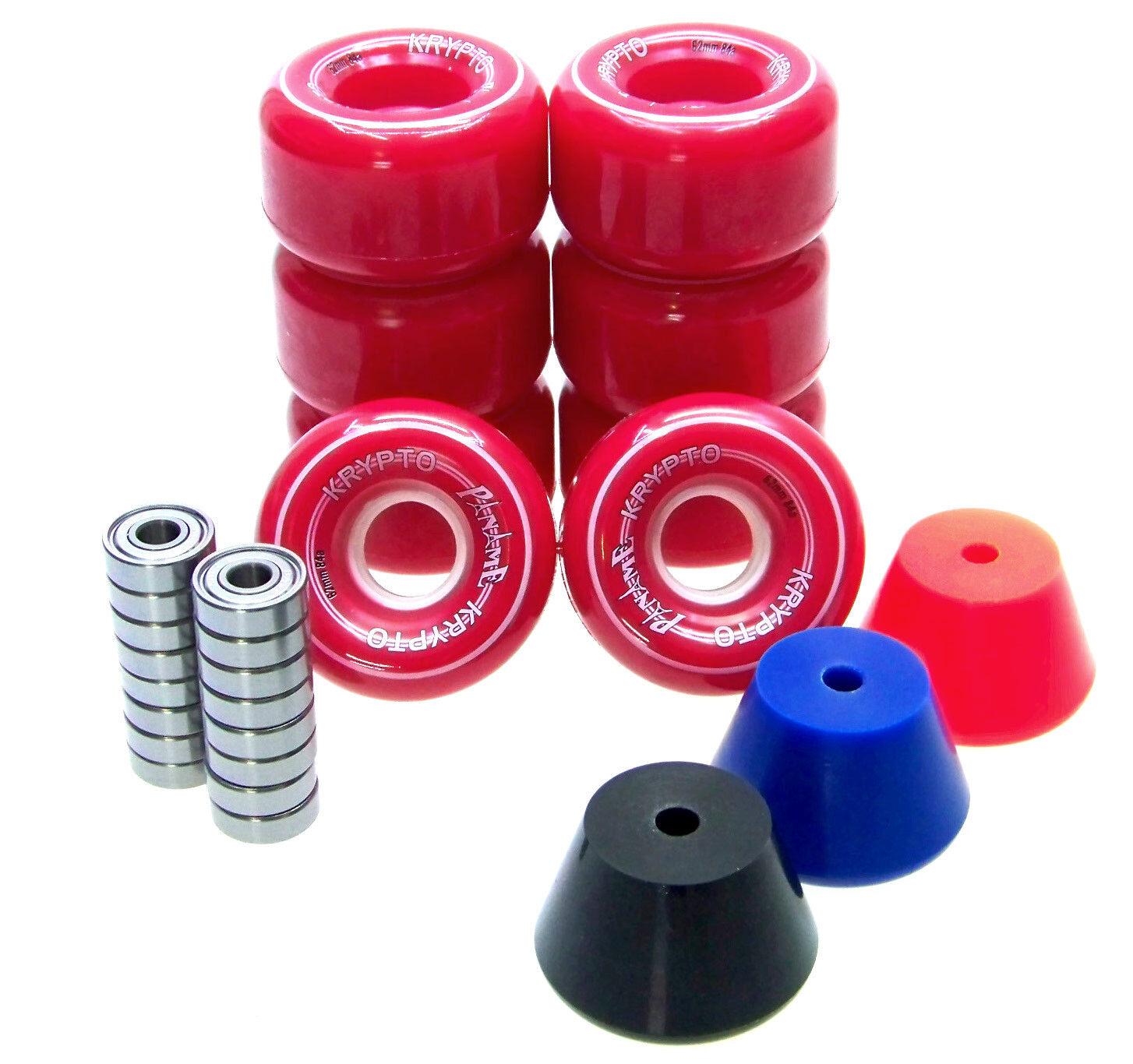 Rollschuh Rollen / Stopper / ABEC Lager Set  Disco Roller Skate PANAME ROT