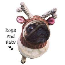 El Reno Ciervo Sombrero, Redecilla Para Su Perro. Pug Sombrero. Gorra. Navidad Traje de Perro
