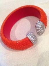 925 Sterling Stingray Leather Cuff Bracelet With Cz
