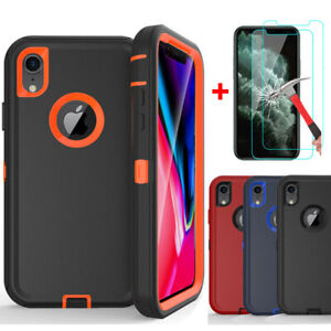 For iPhone XS Max XR Shockproof Defender Case Cover With Glass Screen Protector