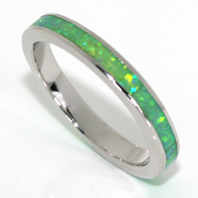 Stackable Light Green Opal w Blue Fire Sterling Silver Eternity Band Ring 3MM
