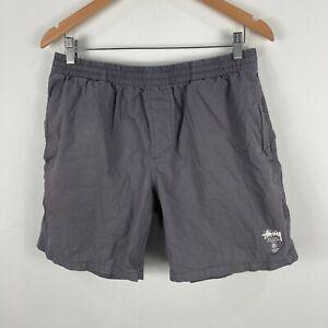 Stussy-Mens-Shorts-34-Slim-Fit-Grey-Elastic-Waist-Drawstring-Pockets