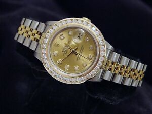 Rolex-Datejust-Lady-Champagne-18K-Yellow-Gold-amp-Steel-Watch-1-50ct-Diamond-Bezel