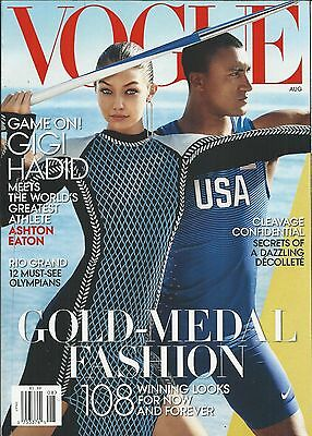 Vogue magazine Gigi Hadid Ashton Eaton Olympians Wendi Murdoch Fashion Cleavage