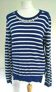 DICKINS-amp-JONES-Size-S-10-12-BLUE-amp-WHITE-Stripe-BEADED-Wool-Blend-JUMPER