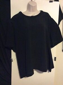 Womens-Plus-24-3X-Black-Polyester-Shirt-Nice-Short-Sleeve-Top-Business-Casual